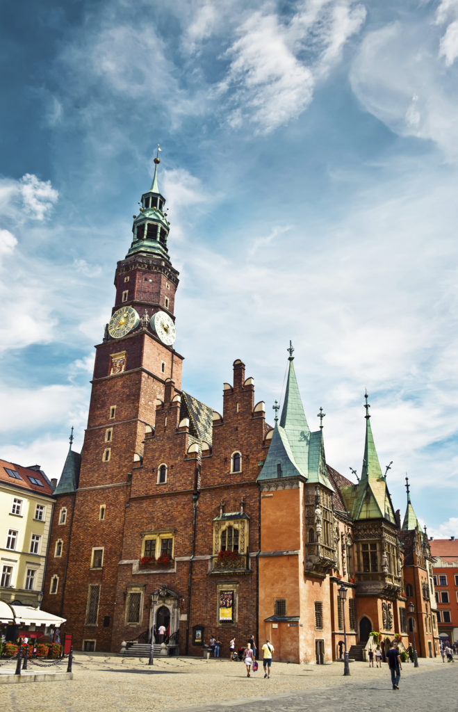 WROCLAW POLAND -August 18 2013: The ancient Town Hall in Wroclaw Poland. Wroclaw is the 4th largest city in Poland with 632067 people (2013).